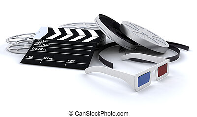 apparecchiatura, 3d, cinema
