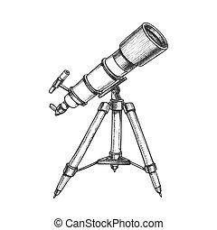 apparecchiatura, astronomo, vettore, telescopio, ...