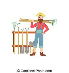 apparecchiatura, barbuto, agricoltura, pila, uomo