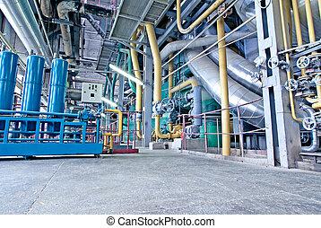 apparecchiatura, cavi, e, tubatura, come, fondare, interno, uno, moderno, industriale, centrale elettrica