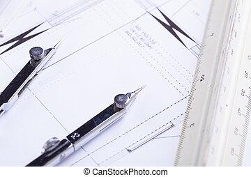 apparecchiatura, cianografie, oggetti, architetto, Posto lavoro