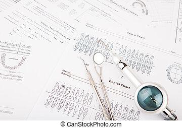 apparecchiatura, dentale, attrezzi, grafico