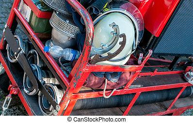 apparecchiatura firefighting, su, uno, piccolo, metallo, carrello