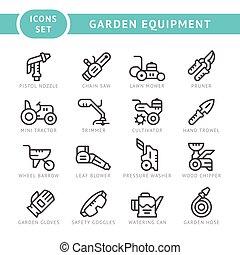 apparecchiatura, linea, set, giardino, icone
