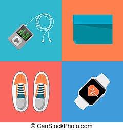 apparecchiatura, palestra, sport, set., icone