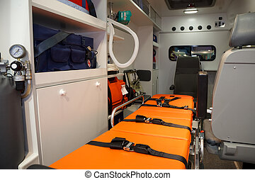 apparecchiatura, per, ambulances., vista, da, interno.