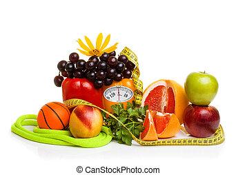 apparecchiatura salute, e, cibo sano