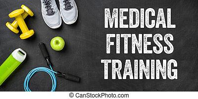 apparecchiatura salute, su, uno, sfondo scuro, -, medico, allenamento salute