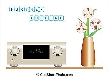 apparecchiatura sana, con, musica, godimento