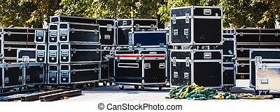 apparecchiatura, scatole, palcoscenico
