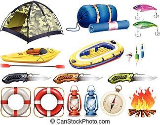 apparecchiatura, set, altro, tenda accampamento