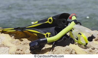 apparecchiatura snorkeling, su, spiaggia