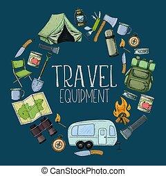 apparecchiatura, turismo, campeggio