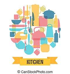apparecchiatura, utensili cottura, silhouette, fondo., cucina, ristorante