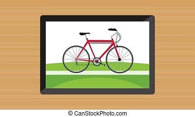 appareil, animation, vélo, tablette