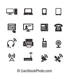 appareil, communication, icônes