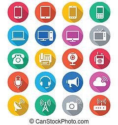 appareil, communication, plat, couleur, icônes