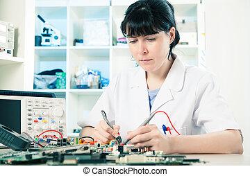 appareil, dépannage, girl, électronique, précision