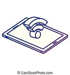 appareil, isométrique, smartphone, signal, wifi