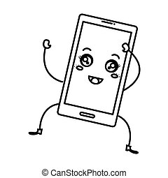 appareil, kawaii, smartphone, caractère