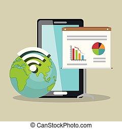 appareil, la terre, signal, smartphone, wifi