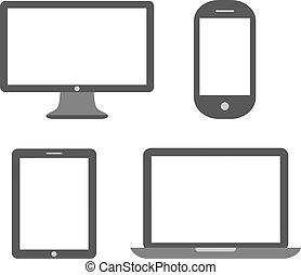 appareil, média, icône
