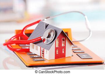 appareil, maison, calculatrice, stéthoscope, modèle