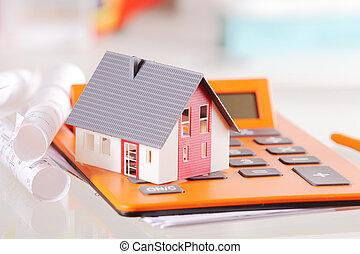 appareil, miniature, calculatrice, conceptuel, maison