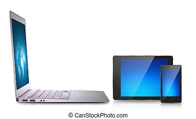 appareil, ordinateur portable, tablette
