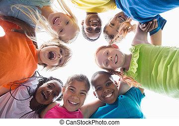appareil photo, élèves, bas, mignon, sourire