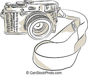 appareil-photo 35mm, slr, pellicule, dessin