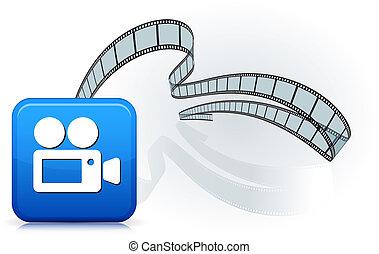 appareil photo, blanc, bandes, pellicule, icône