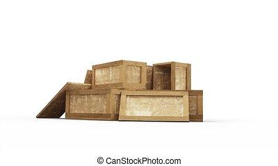 appareil photo, bois, boîte, transport, zoom, entiers,...