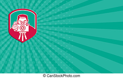 appareil photo, business, retro, carte, tir, bouclier, photographe
