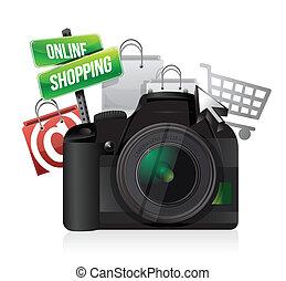 appareil photo, concept, faire courses ligne