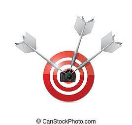 appareil photo, conception, cible, illustration