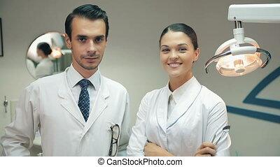 appareil photo, dentistes, regard, bureau