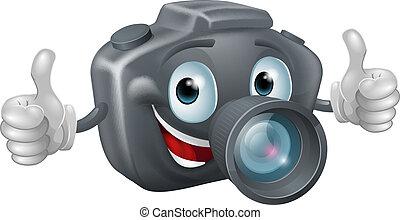 appareil photo, dessin animé, mascotte