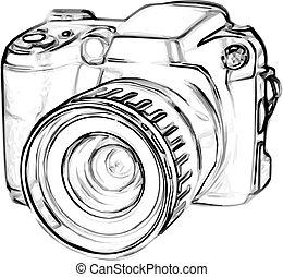 appareil photo, dessin, numérique