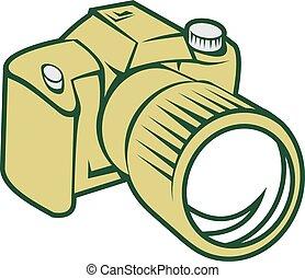 appareil photo, dslr, retro