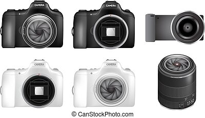 appareil photo, ensemble, dslr