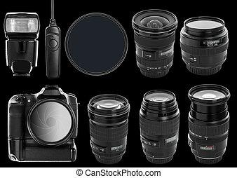 appareil photo, ensemble, lentilles, numérique