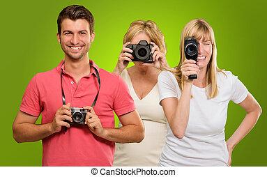 appareil photo, famille, tenue, heureux