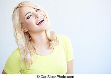 appareil photo, femme, jeune, vivacious, rire