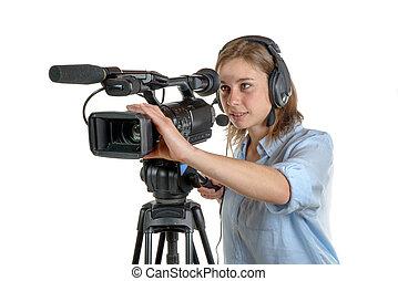 appareil photo, femme, vidéo, jeune