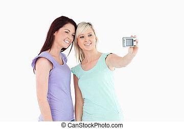 appareil photo, femmes, gai