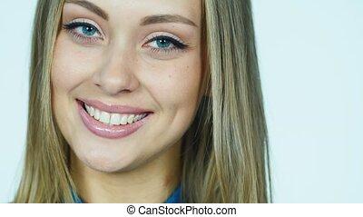 appareil photo, flirter, femme souriant, séduisant