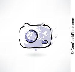 appareil photo, grunge, icône