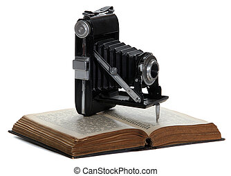 appareil photo, historique, vieux, livre