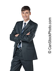 appareil photo, homme affaires, amical, fond, isolé, reliability., position souriante, regarder, blanc